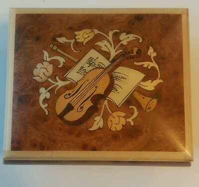 Vintage  San Francisco Music Box Lacquered Wood Hand Crafted Sorrento Italy