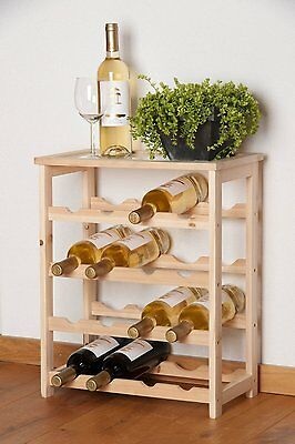 16 Bottles Wine Bottle Rack Holder Stand Shelving Cabinet Unit For Kitchen Bar