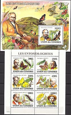 Comoros 2008 Insects Butterflies sheet of 6 + S/S MNH**