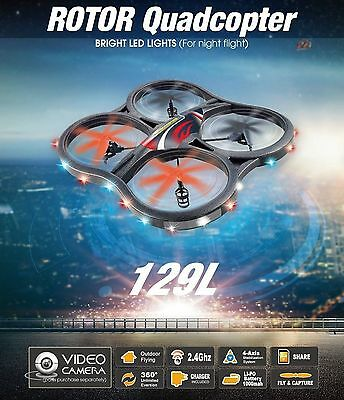 "Huge GoPro Drone X129L ""Rotor"" RC Quadcopter 2.4G 6 Axis Video Camera"