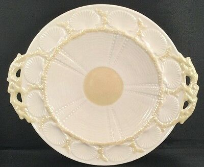 "BELLEEK ""New Shell Yellow""~ Handled Serving Plate 10-1/2"" x 91/8"" ~ 6th Green M"