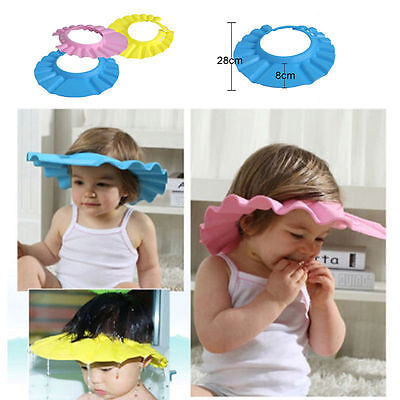 Baby Kids Children Soft Bath Bathing Shower Cap Hat Wash Hair Shampoo Shield Uk