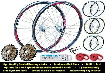 "QR 26"" MTB Mountain Bike Front Rear 5/6/7 Speed Free Wheel Set Double Wall"