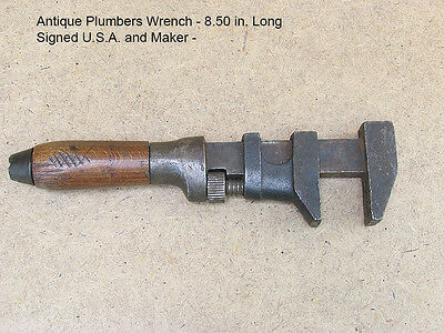 Antique Plumbers Wrench Signed U.S.A. and Maker