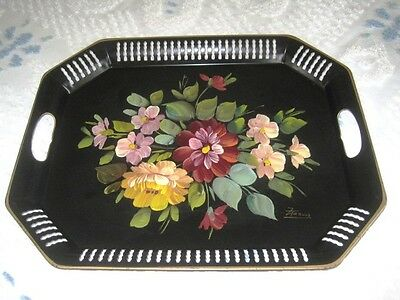 Beautiful Hand Painted Signed Francis Vintage Country Flowers Black Tole Tray