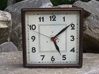 Vintage Carson Wall / Shelf Clock Metal Dial Advertising Store Style Clock