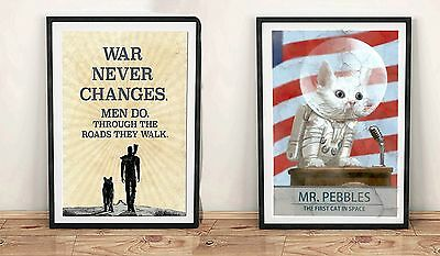 Fallout 4 Mr Pebbles Cat & War Never Changes Unofficial Poster Gift Video Game