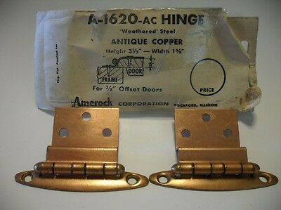"Vintage NOS COPPER Plated Steel Cabinet Door HINGES 3/8"" Inset One Pair"