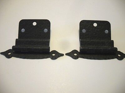 "Vintage Steel Cabinet Door Hinges Satin Black Semi-Concealed 3/8"" Inset"