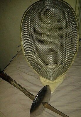 Vintage Costello Fencing Mask &  Practice French Grip Fencing Foil France