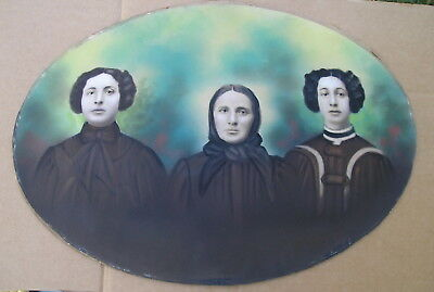 Beautiful Antique Vintage Victorian 3 Sisters Hand Colored Photo Homely Portrait