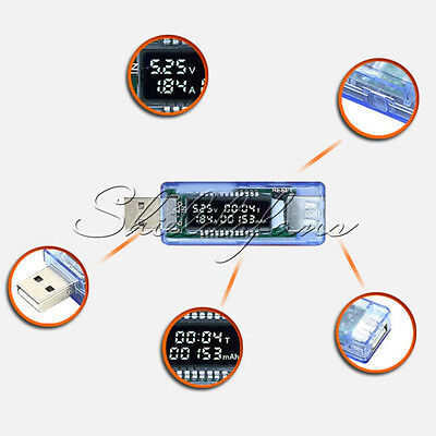 New USB Charger Capacity time Current Voltage Detector Meter Battery Tester