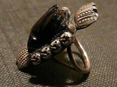 Vintage Mexican Carved Onyx/Silver FROG Ring Size 5.5 ~ Regal!