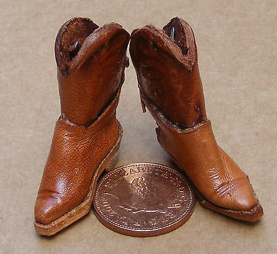 1:12 Scale Pair Of Brown Leather Cowboy Boots Dolls House Miniature Clothing