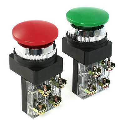 Red Green AC 250V 6A DPST Momentary Mushroom Head Push Button Switch HY