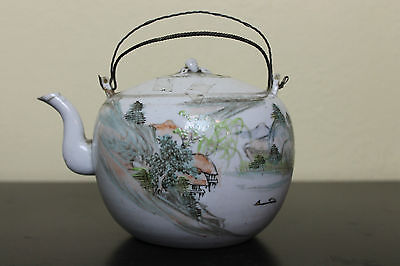 Antique Chinese Qing Dynasty Landscape Painting Calligraphy Porcelain Teapot