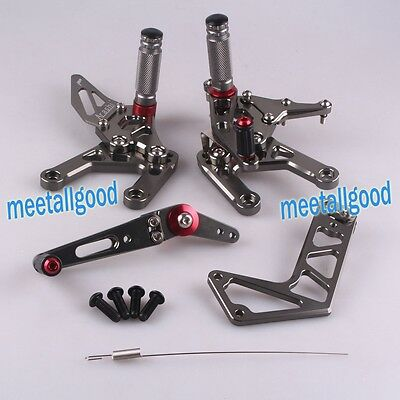 Grey Motorcycle Rearsets Rear sets Footpegs For Yamaha YZF-R1 2015 Adjustable