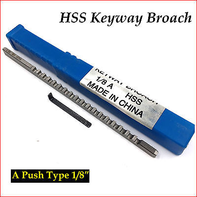 "HSS Keyway Broach 1/8"" Inch A Push Type Metric Size Metalworking Tool Accessory"