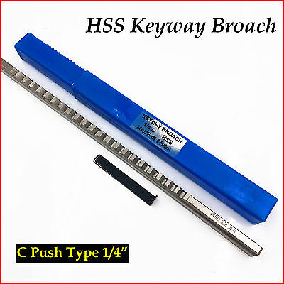 "C Push Type Keyway Broach 1/4"" Inch Size CNC Tool Accessories HSS"