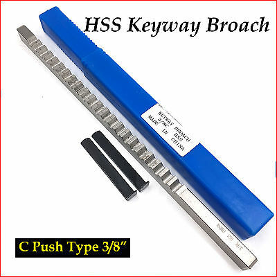 "Keyway Broach 3/8"" Inch Size C Push Type HSS CNC Cutting Tool Accessory"