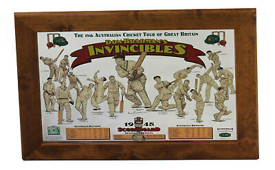 Sir Don Bradman's  Invincibles Bar Mirror 1948 Scoreboard Cricket Australia