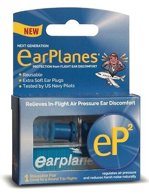 EarPlanes® eP2 Reusable earplugs 1 pair