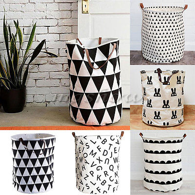 Canvas Decorative Storage Baskets Bins Kids Toy Clothing Organizer Laundry Bags