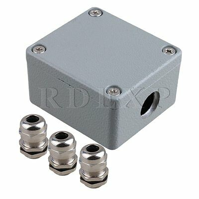 65x58x36mm Metal Waterproof Electric Junction Project Box Dia 17mm Gray