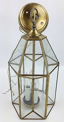 Underwriters Laboratories Light Fixture w/ Glass Panels & Brass Finish 163,836