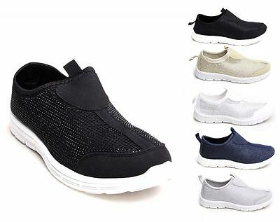 29ae6f449bc Womens Glitter Diamante Gym Flats Slip On Sneakers Trainers Shoes UK 3-8