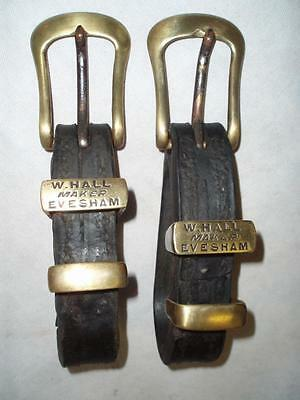 """ANTIQUE ENGLISH LEATHER BLACK HARNESS DRIVING TUGS, Maker """"HALL EVESHAM"""""""