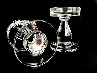 Contemporary Clear Glass Pillar Candle Holders Set of Two 2