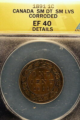 """1891 ANACS XF40 Details """"Small Date Small Leaves"""" Canada Victoria One Cent E0886"""