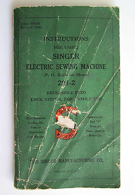 Singer Electric Sewing Machine No. 201-2 Instructions Manual Guide 1936 DAMAGED