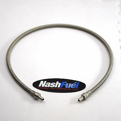CNG Compressed Natural Gas Hose 3Ft Male Ferrule Ends Stainless Steel Braided