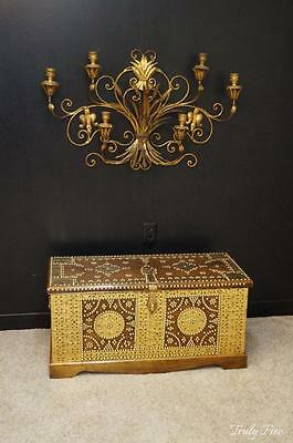 Sarried Brass Styled Antique Trunk Coffee Table Bench Blanket Storage Chest