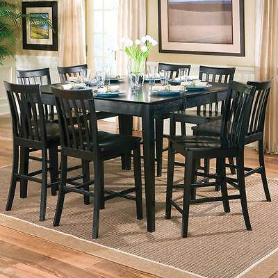 Pines 9 Piece Black Counter Height Dining Table Set