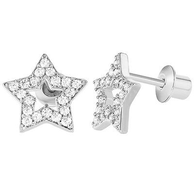 Rhodium Plated Micro Pave Clear CZ Screw Back Star Little Girls Earrings