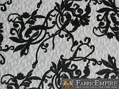 "Lace Fabric Sequin Guipure Floral Beyonce 48 BLACK / 51"" Wide / Sold by the yard"