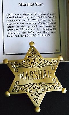 Authorized Old West Marshal 6 Pt. Star Brass Replica Badge - Made in USA  #PH409