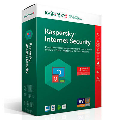 Kaspersky Internet Security 2017 3 Devices  1 Year, Sealed Retail Box NEW!!