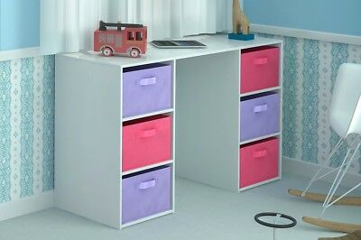 Kids Desk Toy Storage 6 Canvas Drawers for Children's Bedroom Pink Purple