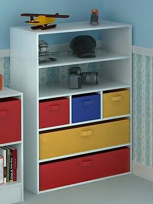 Kids Toy Storage Cabinet 5 Tiers 5 Canvas Drawers for Children's Bedroom