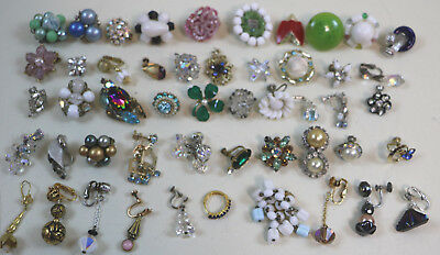 Lot of 50 Vintage Better Quality Single Earrings Crafts / Harvest / Repurpose #5