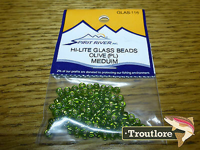 Olive Hi-Lite Glass Beads Medium Spirit River - New Fly Tying Materials