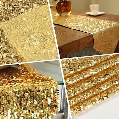 Sequin Table Runner Wedding Party Bling Table Decoration Gold Silver & Champagne