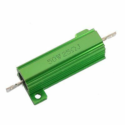 Aluminum Case 50W 25 Ohm Chassis Mounted Wirewound Resistor Green HY