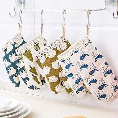 1Pc Resistan Cotton Jute Thick Kitchen Baking Cook Insulated Padded Oven Glove