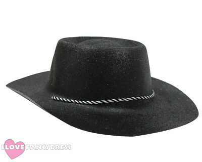 Black Glitter Cowboy Hat Wild Western Cowgirl Hen Stag Party Holiday Fancy  Dress d5a431705091