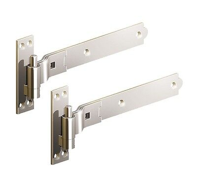 """Gate Hinge Cranked 450mm 18"""" Pair Stainless Steel Heavy Duty Hook And Band"""